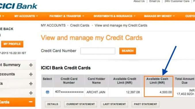 check icici credit card balance online