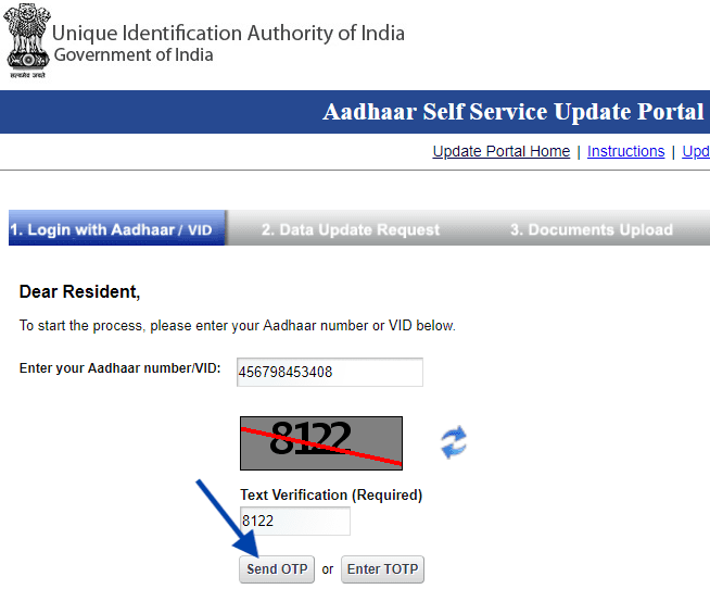 address update correction request in aadhaar online