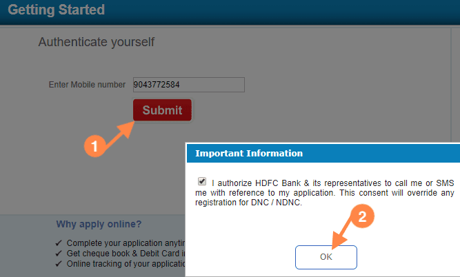 Authenticate mobile number to open hdfc account