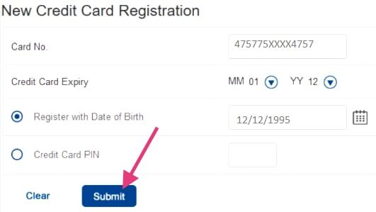 new credit card registration hdfc net banking