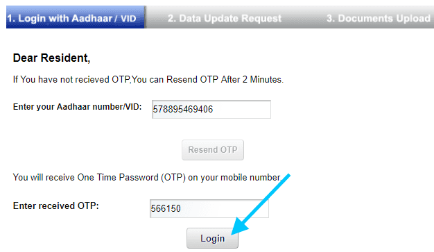 enter otp to update aadhar online