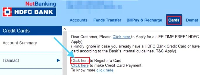 register for hdfc credit card net banking