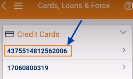 select icici credit card number imobile
