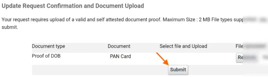 upload documents to update aadhar card