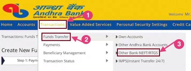 andhra bank fund transfer online