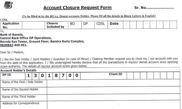 bank of baroda account closure form
