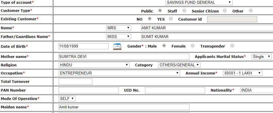 fill pnb account details