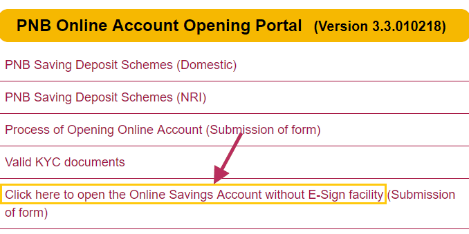 open online saving account pnb
