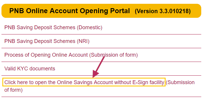 open online saving account pnb