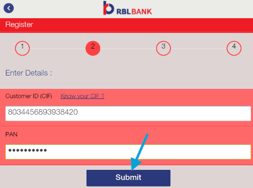register for rbl mobank app using pan and cif details