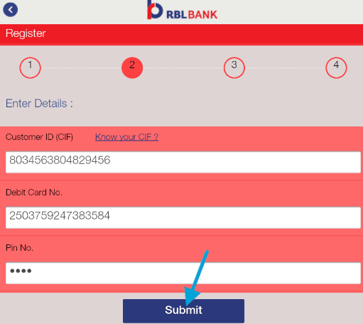 register for rbl mobank app using debit card details