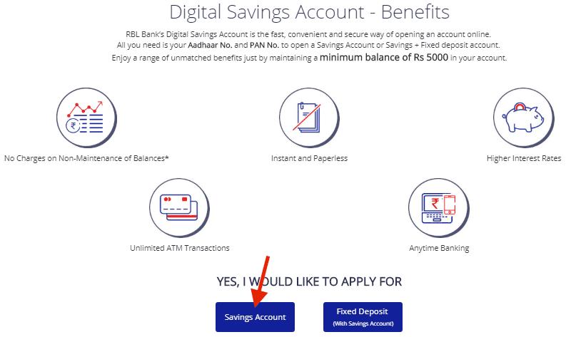 Savings Account in rbl bank online