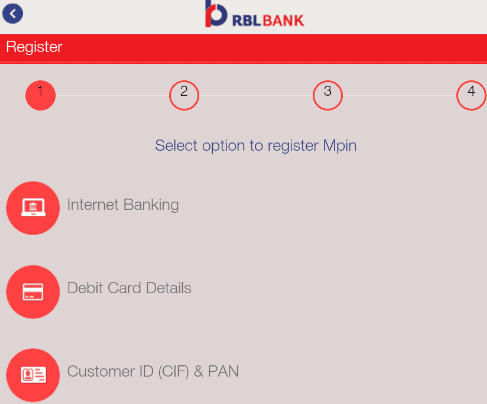 select option to register mpin for rbl mobank app