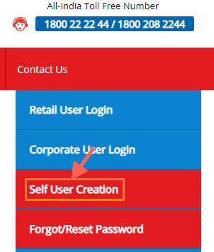 self user creation union bank of India