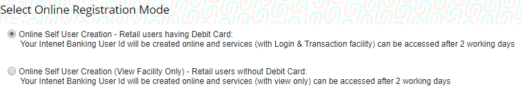 union bank of India net banking registration using debit card