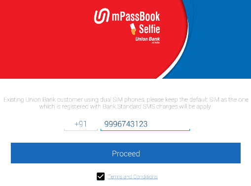enter mobile number union bank mpassbook
