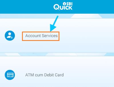 account services sbi quick app