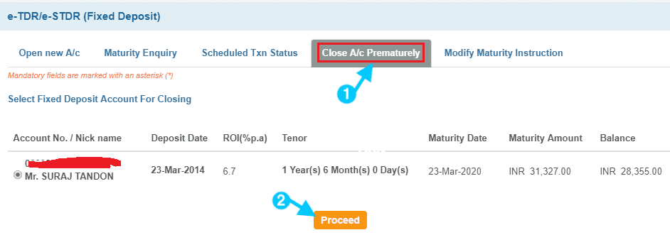 close fixed deposit account in sbi prematurely
