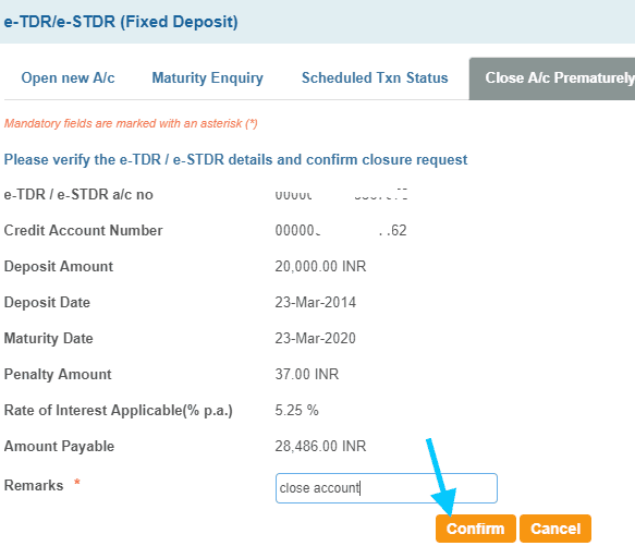 confirm close fixed deposit account in sbi prematurely
