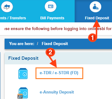 fixed deposit account in sbi