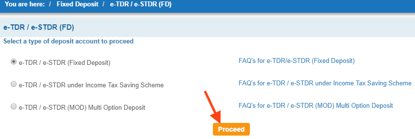 select type of fixed deposit account in sbi