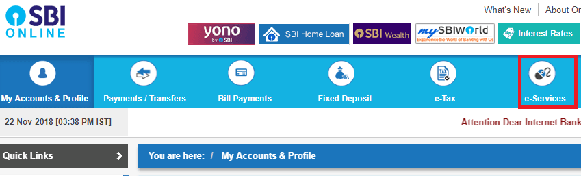 e services online sbi