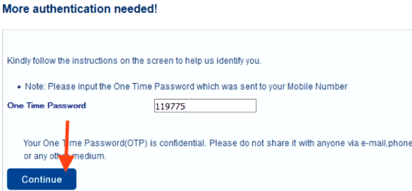 enter otp for hdfc credit card pin generation