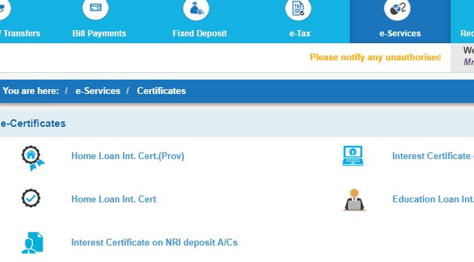 home loan certificates online sbi
