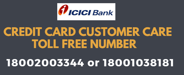 icici credit card customer care toll free number