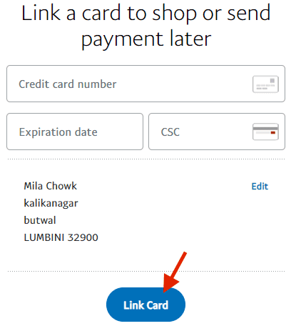 credit card details for paypal nepal