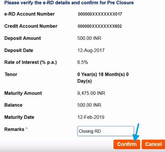 confirm sbi rd account closing