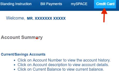 credit card tab yes bank net banking