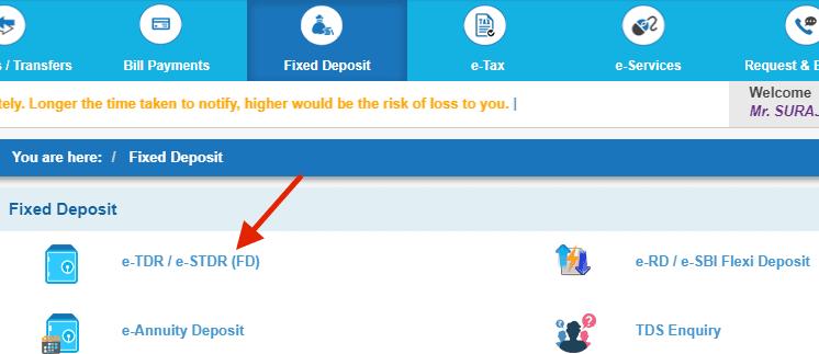 rd deposit in sbi online