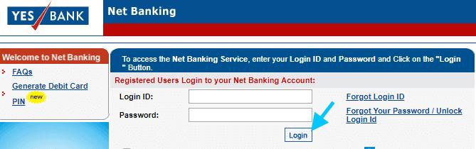 yes bank net banking login