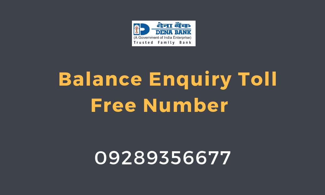 dena bank balance enquiry toll free number