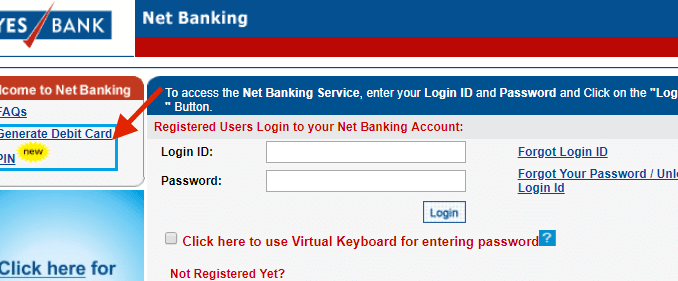generate debit card pin yes bank