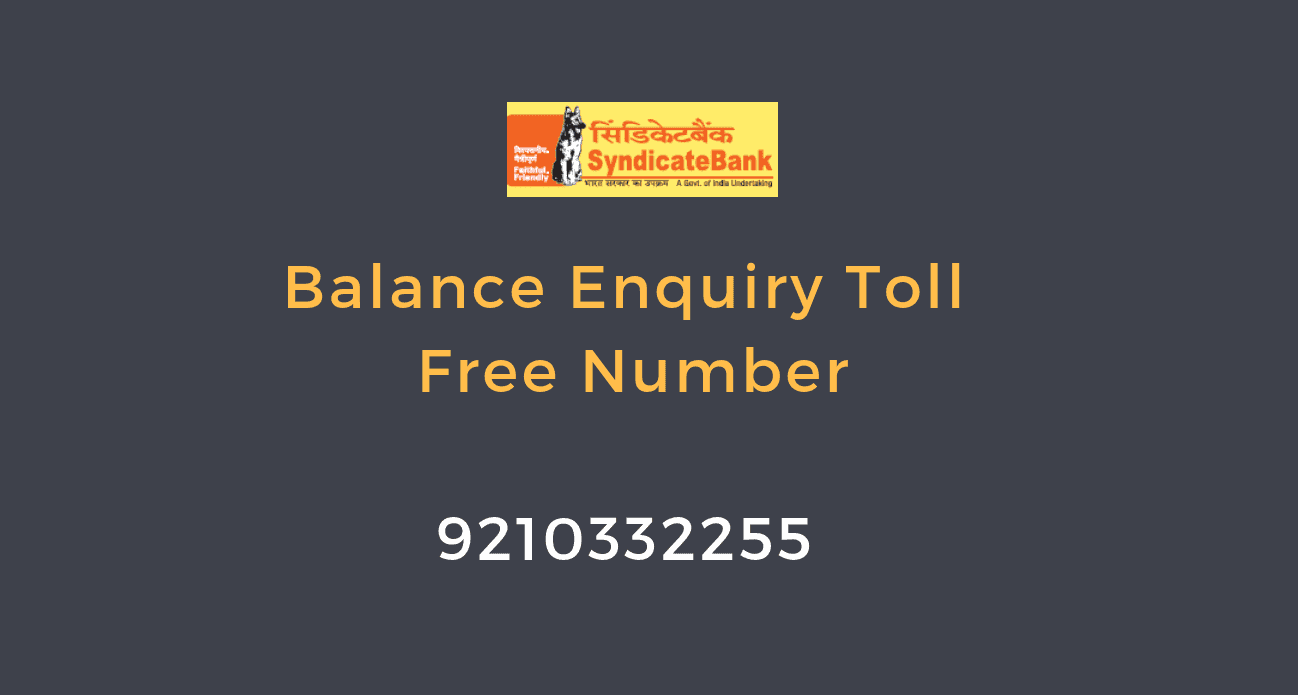 syndicate bank balance enquiry number