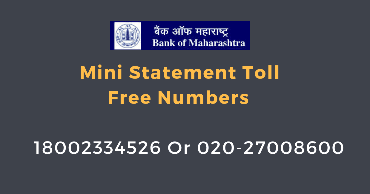 bank of maharashtra mini statement number