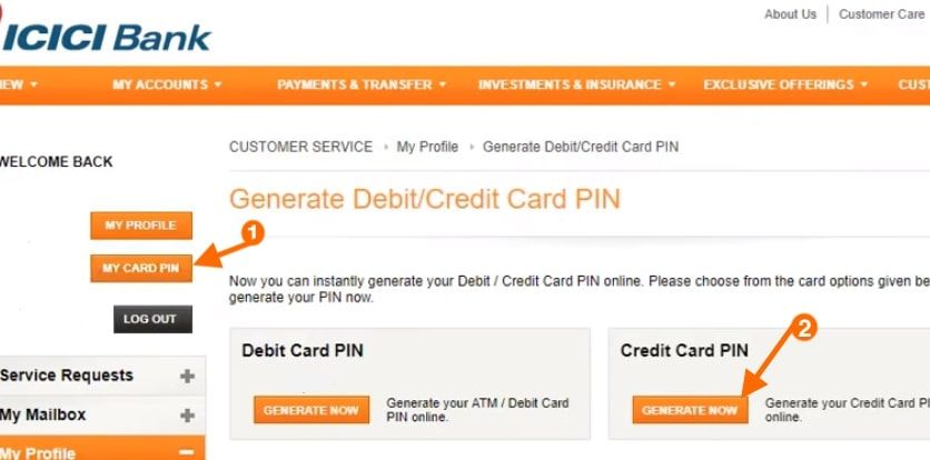 generate credit card pin icici bank net banking