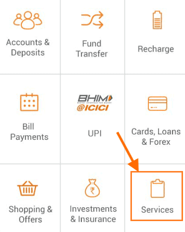 services tab icici imobile app