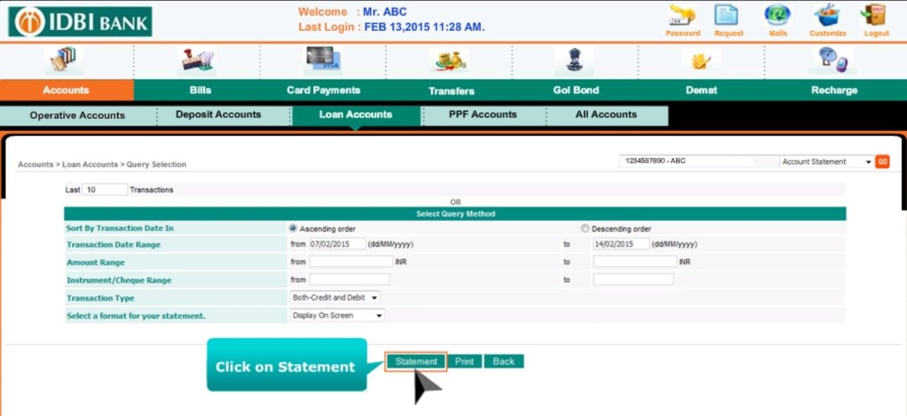 Download IDBI Loan Statement Online