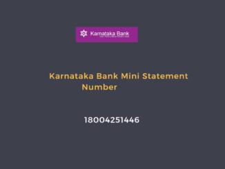 karnataka bank mini statement number