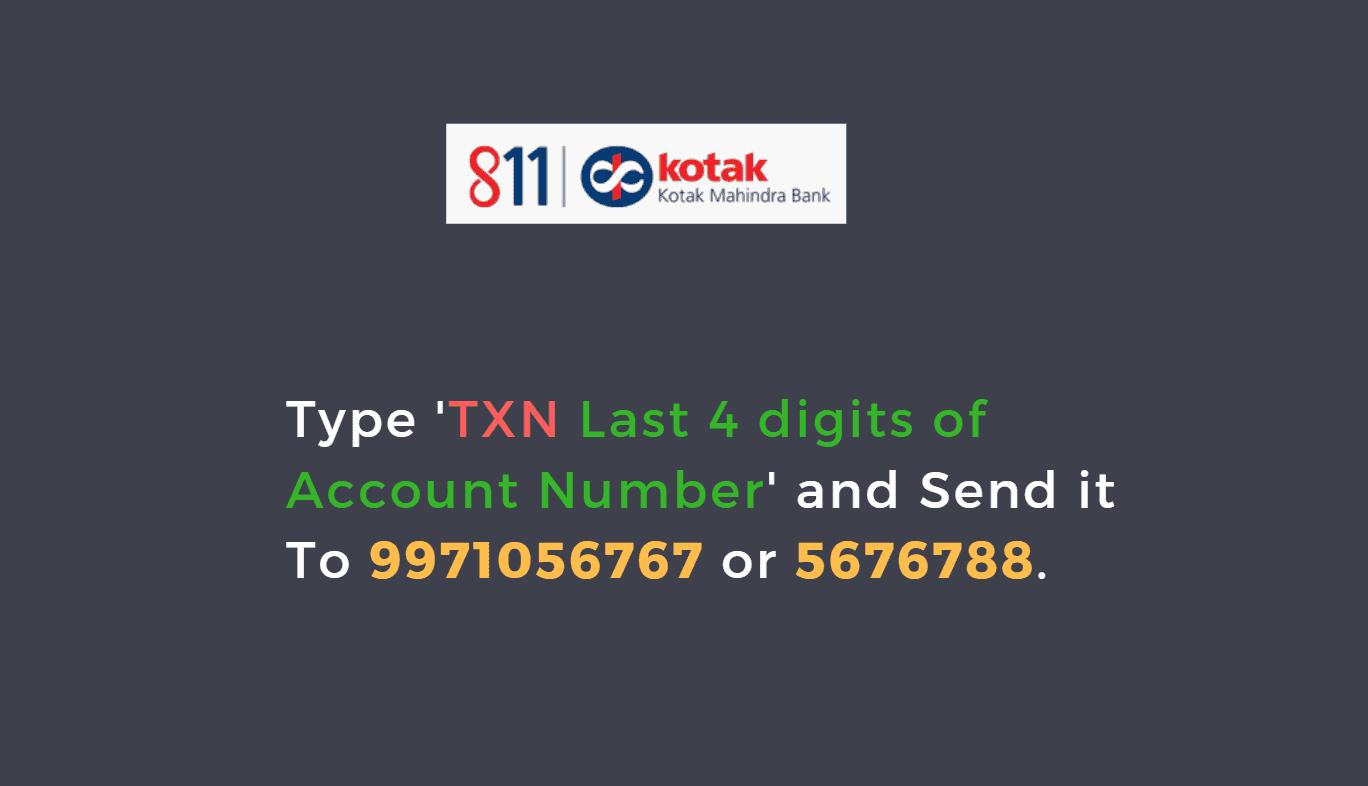 Kotak Mahindra Bank Mini Statement Toll Free Number