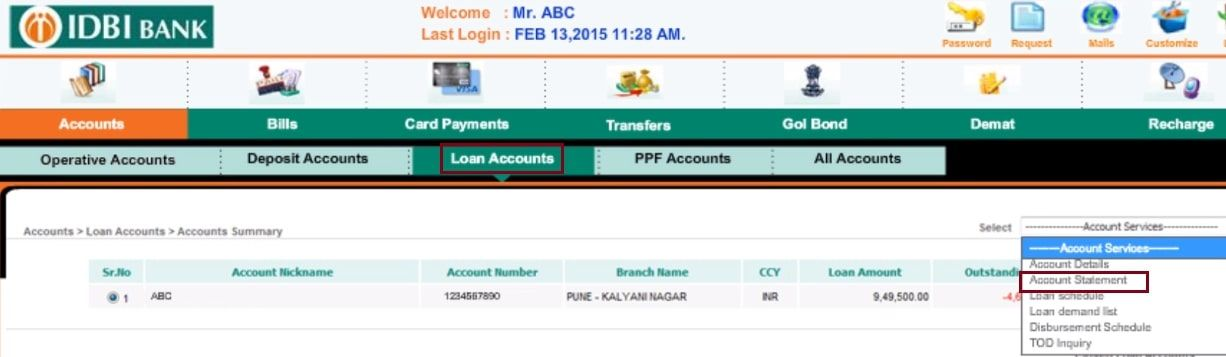 loan accounts idbi bank