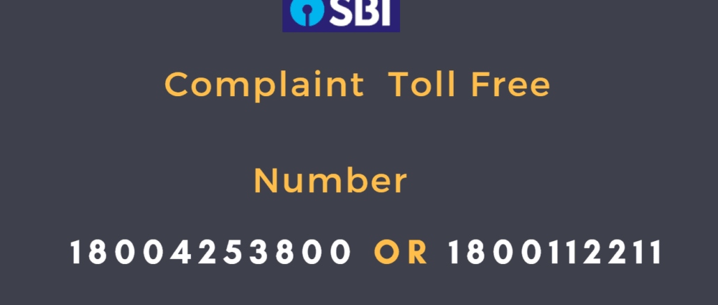 sbi complaint toll free number