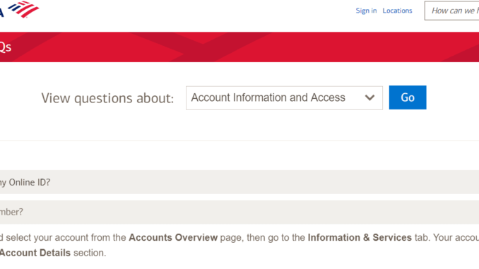 Find Bank Of America Account Number online