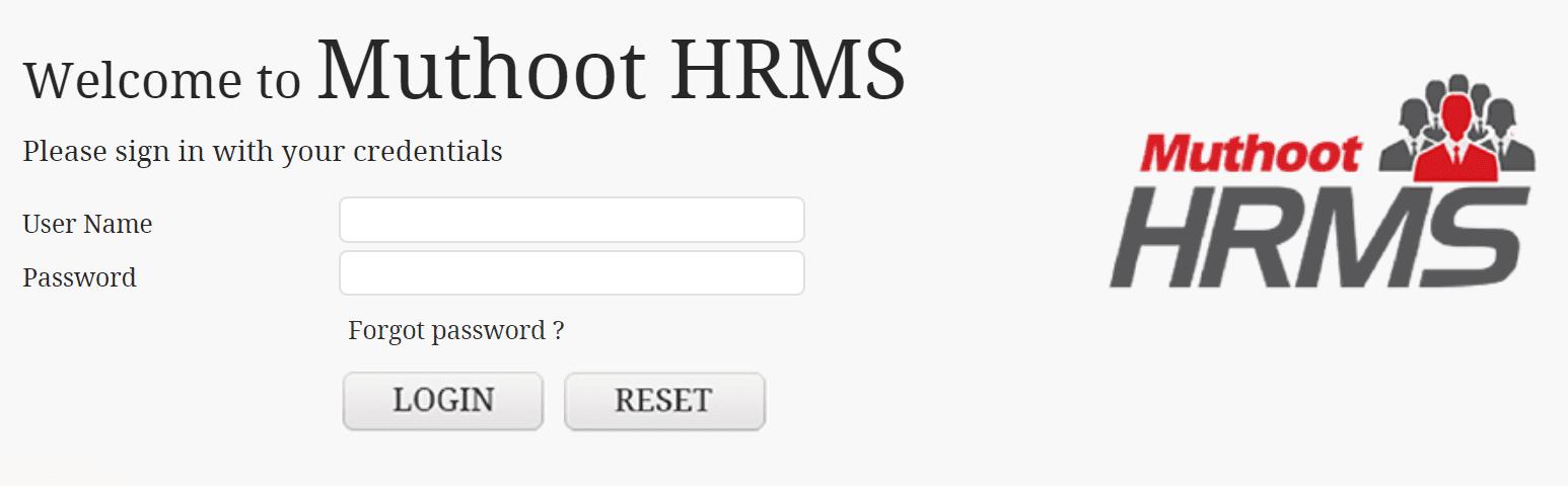 muthoot finance hrms login online