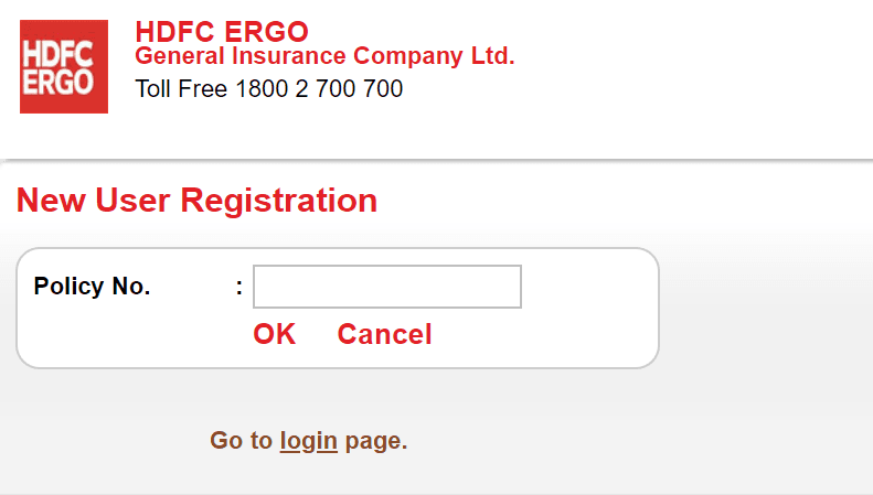 hdfc ergo user registration