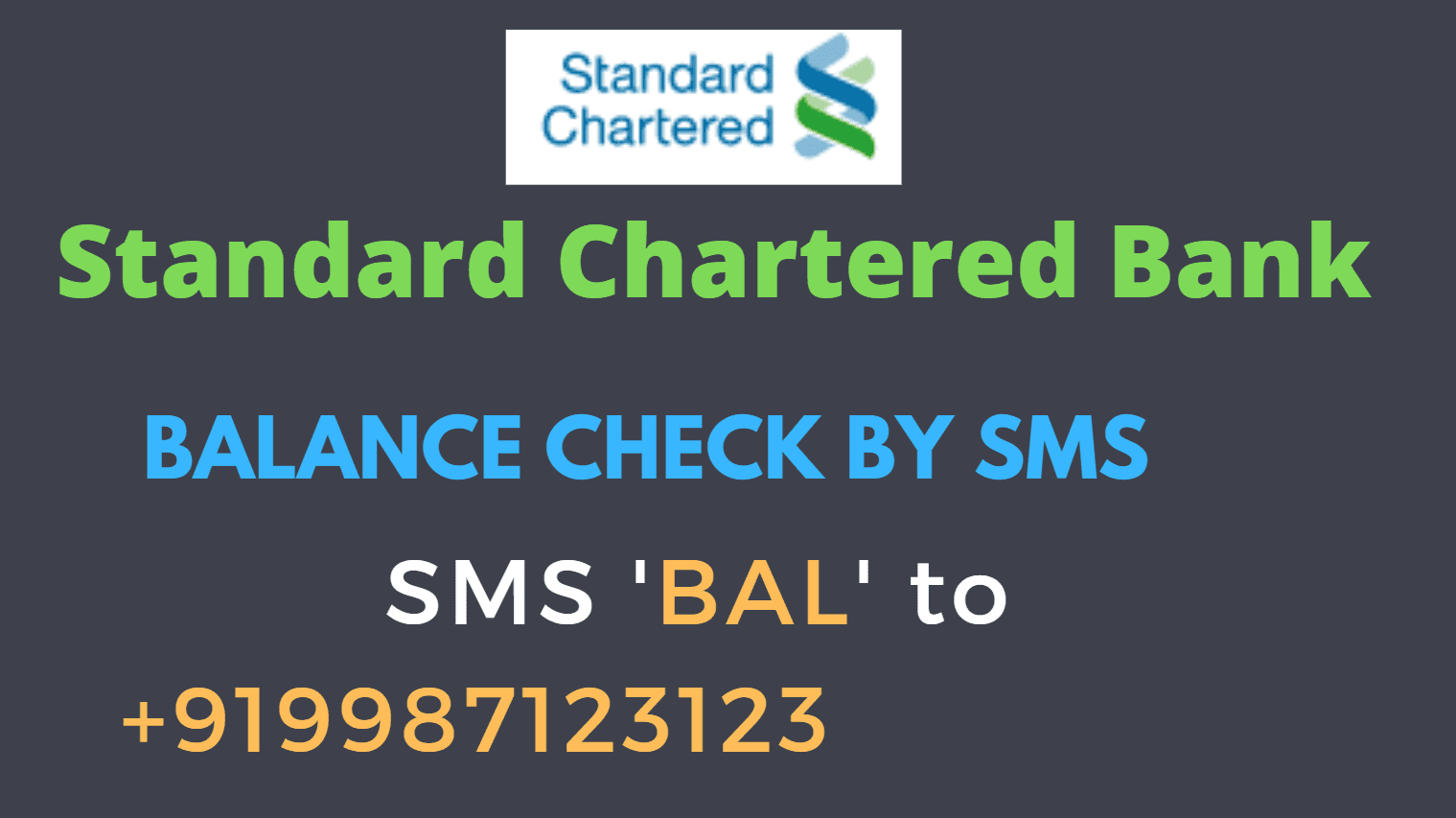 Standard Chartered Bank Balance Enquiry By SMS