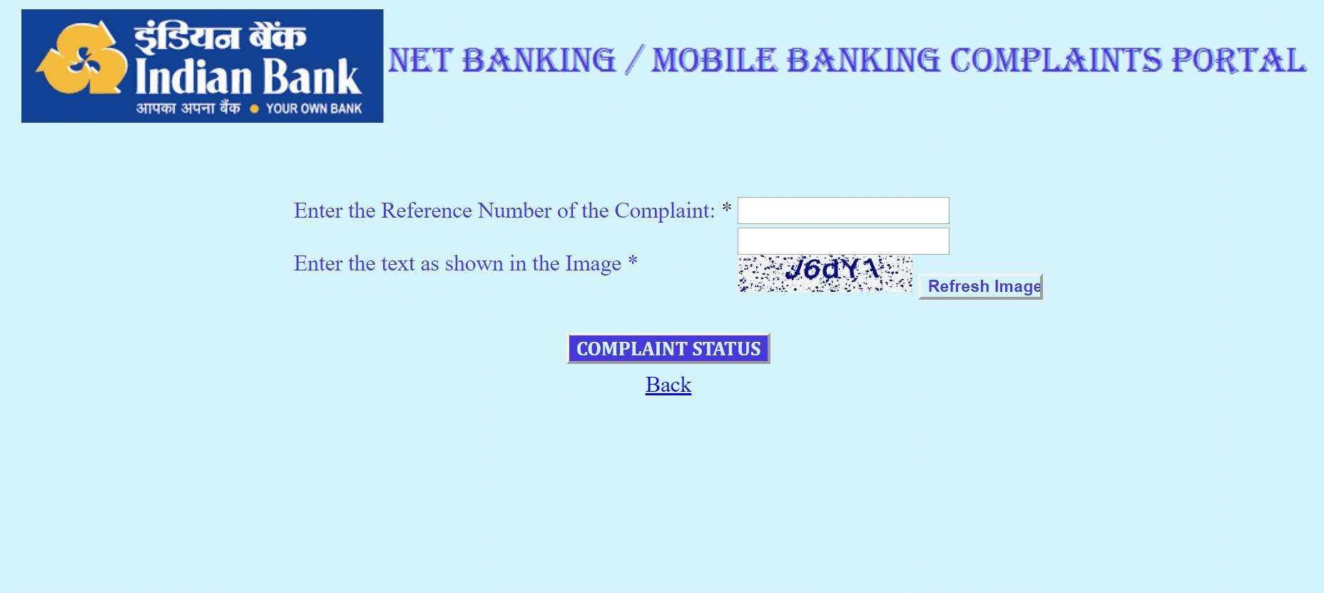 Check Indian Bank Complaint Status Online